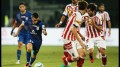 Matias Defederico of Mumbai City FC trying to go past ATK defenders in Mumbai in Tuesday