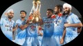 Some of the Indian players with the junior World Cup in Lucknow on Sunday
