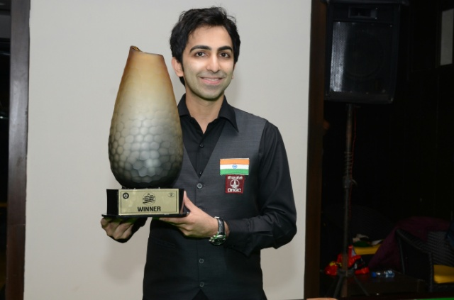 Pankaj Advani with the trophy he won at BRC on Sunday.